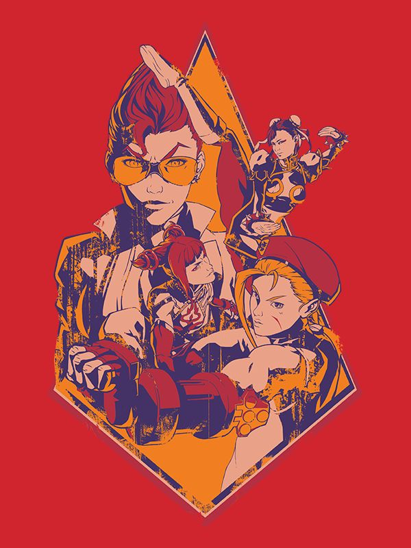 Introducing: Two generations of Street Fighter ladies, one exceptional tee! This high quality print features classic Cammy and Chun-Li facing off with some of the newer blood, C. Viper and Juri! So ma