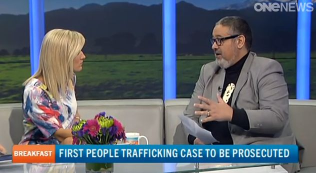 SAS CEO Peter Mihaere on TVNZ's Breakfast with Ali Pugh on Friday 29 August 2014 commenting on New Zealand's first arrests of three individuals having trafficked 18 Indian Nationals into NZ to work in the horticulture industry in Motueka.