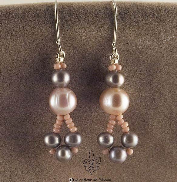 Pink and silver pearl earrings E914 by Fleur-de-Irk.deviantart.com