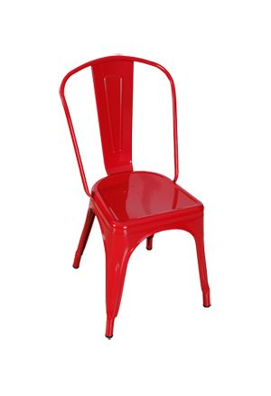 Red Replica Tolix Chair with High Back