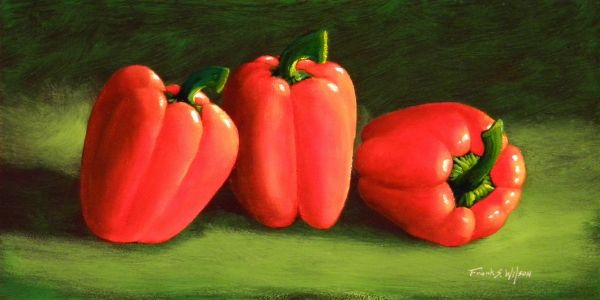 """""""Deep Red Peppers"""" is a 6""""x 12"""" oil painting on hardboard panel. $450 framed. Prints of this would look great in a kitchen or dining room. Prints and cards are also available."""
