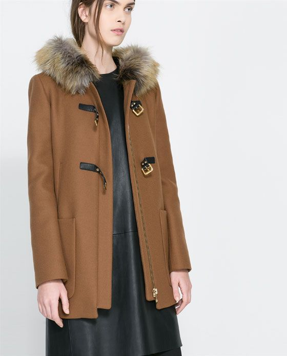 ZARA - WOMAN - DUFFLE COAT WITH FUR HOOD | Metropolis Summer Wish