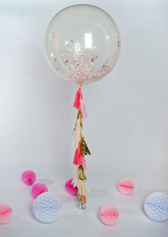 Shades of Pink Jumbo Confetti Balloon with Tassels by One Stylish Party.