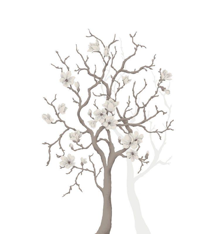 Hyvinkään asuntomessut 2013 Kimara Aurinkorinne ( kohde nro 6 ). Olohuoneen kuvatapetti MR PERSWALL Magnolia tree. www.k-rauta.fi