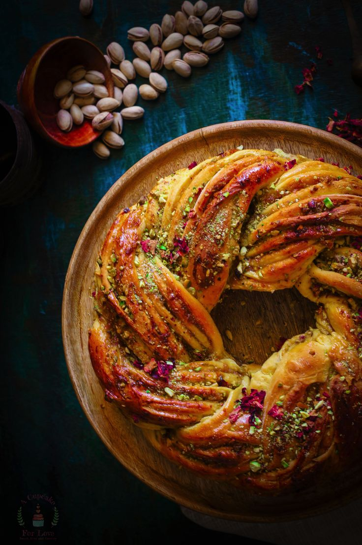 Saffron, Rose and Pistachio Bread – My Indian Holiday Wreath Bread - a cupcake for lo