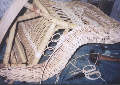 Wicker repair expert, Cathryn Peters, shows how-to repair a child's wicker rocker step-by-step, made to a Victorian child's rattan reed wicker rocker.
