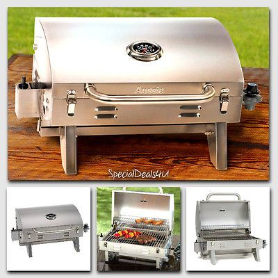 Stainless-Steel-Propane-Gas-Grill-Portable-Table-Top-BBQ-Barbecue-Camping-Boat-N