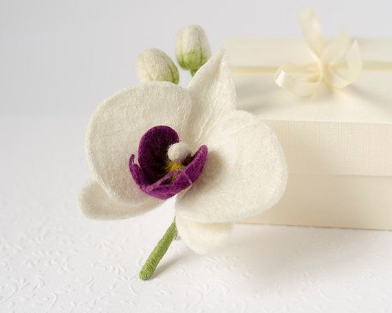 White Orchid Brooch / orchid pin / white boutonniere by TaniaFelt