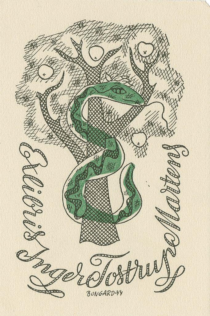 Ex libris, Inger Tostrup Martens   Ekslibriset til journalist Inger Tostrup Martens. Motiv: Slangen i Edens hage.  Laga av Hermann Bongard.  1944.     © Copyright:  Denne illustrasjonen er beskyttet iht. Lov om opphavsrett til åndsverk av 1961. Utover privat bruk er gjengivelse/reproduksjon av vernede illustrasjoner ikke tillatt uten etter avtale med rettighetshaver v/BONO. Kontakt BONO (Billedkunst Opphavsrett i Norge) for rettighetsklarering: www.bono.no  Henvisningen til norsk lov…