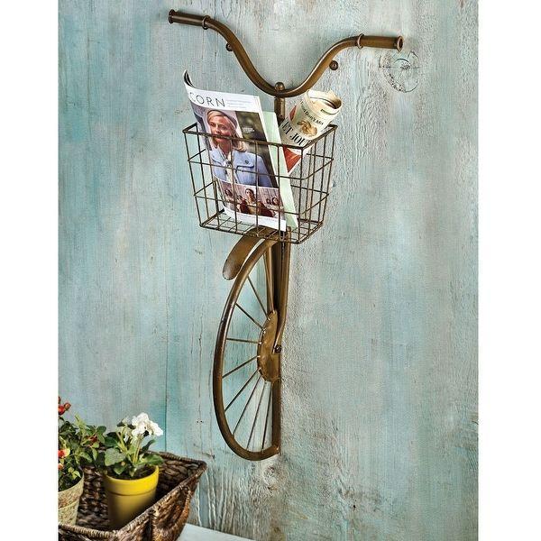 Old School Retro Bicycle Handlebars Basket Garden Wall Planter or Magazine Rack