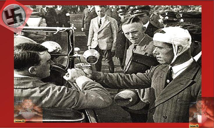 Mr. Adolf Hitler saluting wounded soldiers, cheered by his people.      Herr Adolf Hitler grüßen verwundete Soldaten, von seinem Volk jubelte.