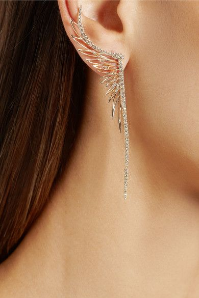 CRISTINAORTIZ 9-karat rose gold diamond medium ear cuff - these would look amazing with the soft up hair, an unexpected contrast - No necklace