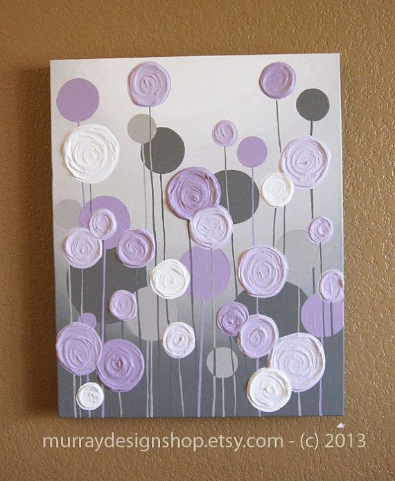 Grey and purple modern nursery art impasto acrylic on for Bathroom canvas painting ideas