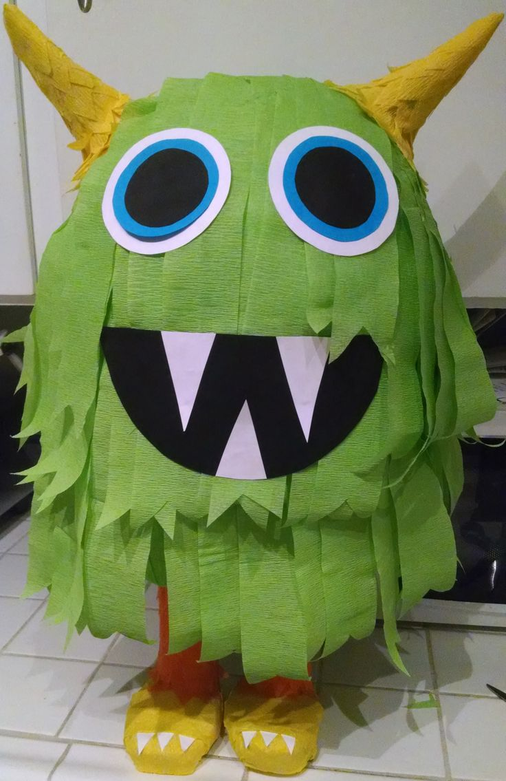 Handmade Green Monster Pinata Monster Theme Party