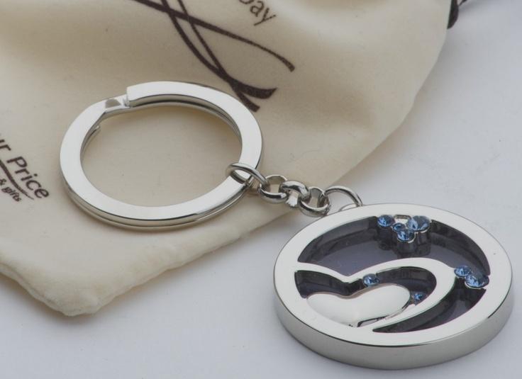 interlocking heart diamante keyring