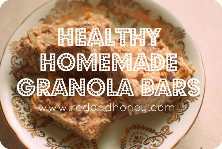 Healthy Homemade Granola Bars - Red and Honey