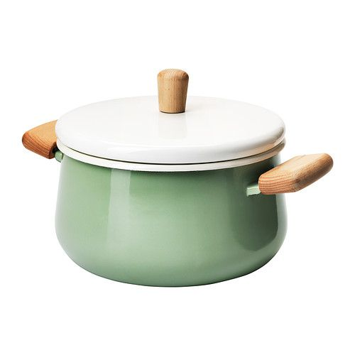 IKEA - KASTRULL, Pot with lid, Made of enameled steel, which is durable and easy to clean.