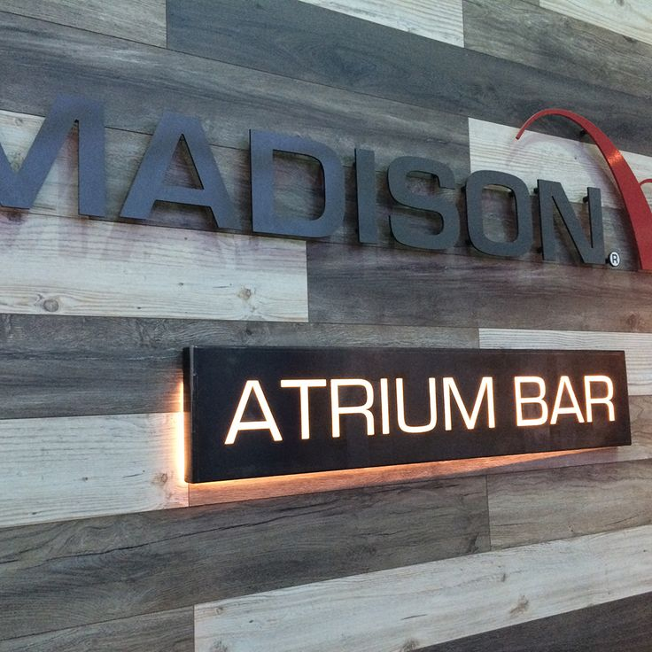 metal signage and light box for Madison offices
