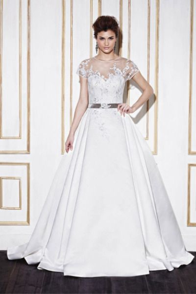 Enzoani ball gown: http://www.stylemepretty.com/2014/10/25/14-incredible-illusion-neckline-wedding-dresses/ #SMPLookBook