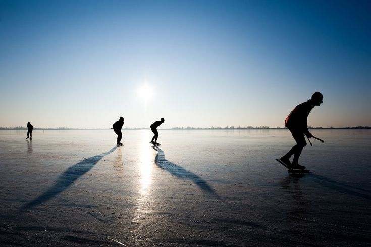 Ice-skating on Lake Balaton. It is safe, because the water is shallow. #Hungary