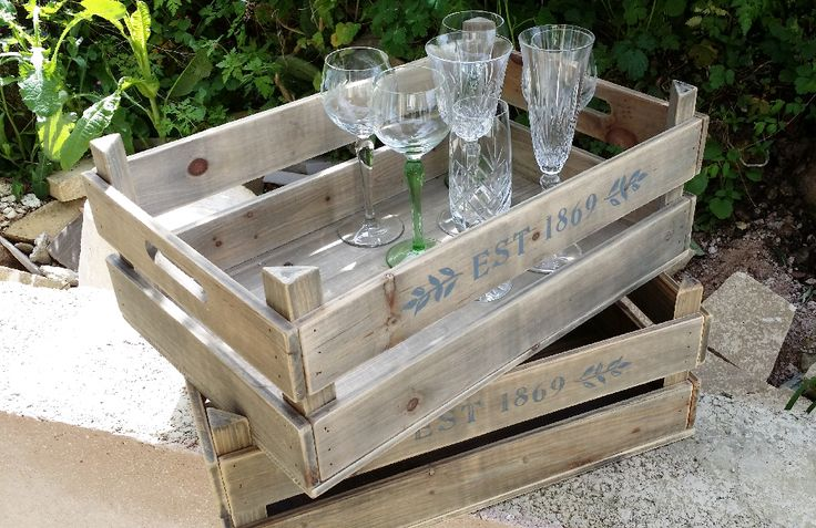 crates as trays for vintage glasses