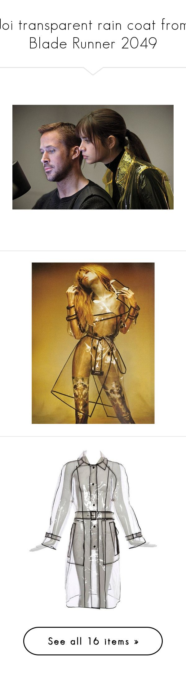 """Joi transparent rain coat from Blade Runner 2049"" by aleksa ❤ liked on Polyvore featuring outerwear, coats, grey, raincoats, prada raincoat, prada coat, pvc raincoat, grey coat, transparent rain coats and home"