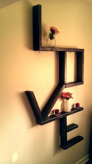DIY wood LOVE wall art shelves made of 2x4u0027s and spray paint Livens up the