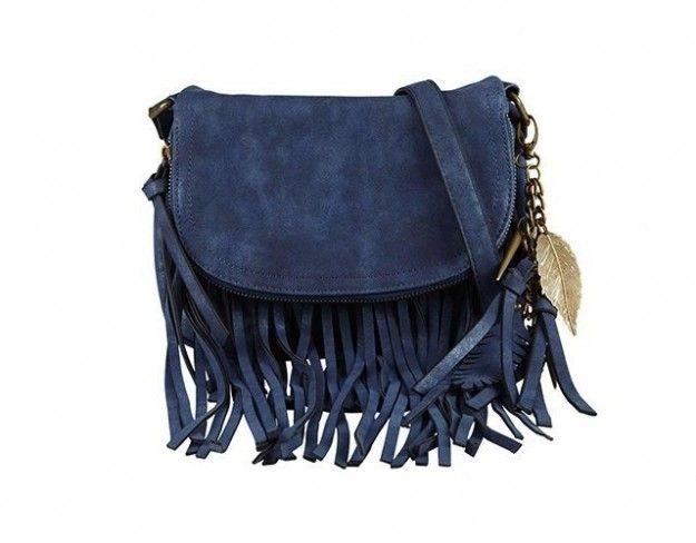 Shoulder bag in suede blu con frange di Aldo