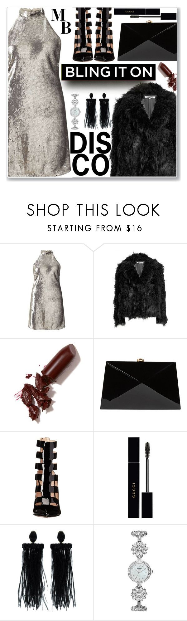 """DISCO"" by gpatricia ❤ liked on Polyvore featuring Miss Selfridge, McQ by Alexander McQueen, LAQA & Co., Rocio, Ruthie Davis, Gucci, Oscar de la Renta and Kate Spade"