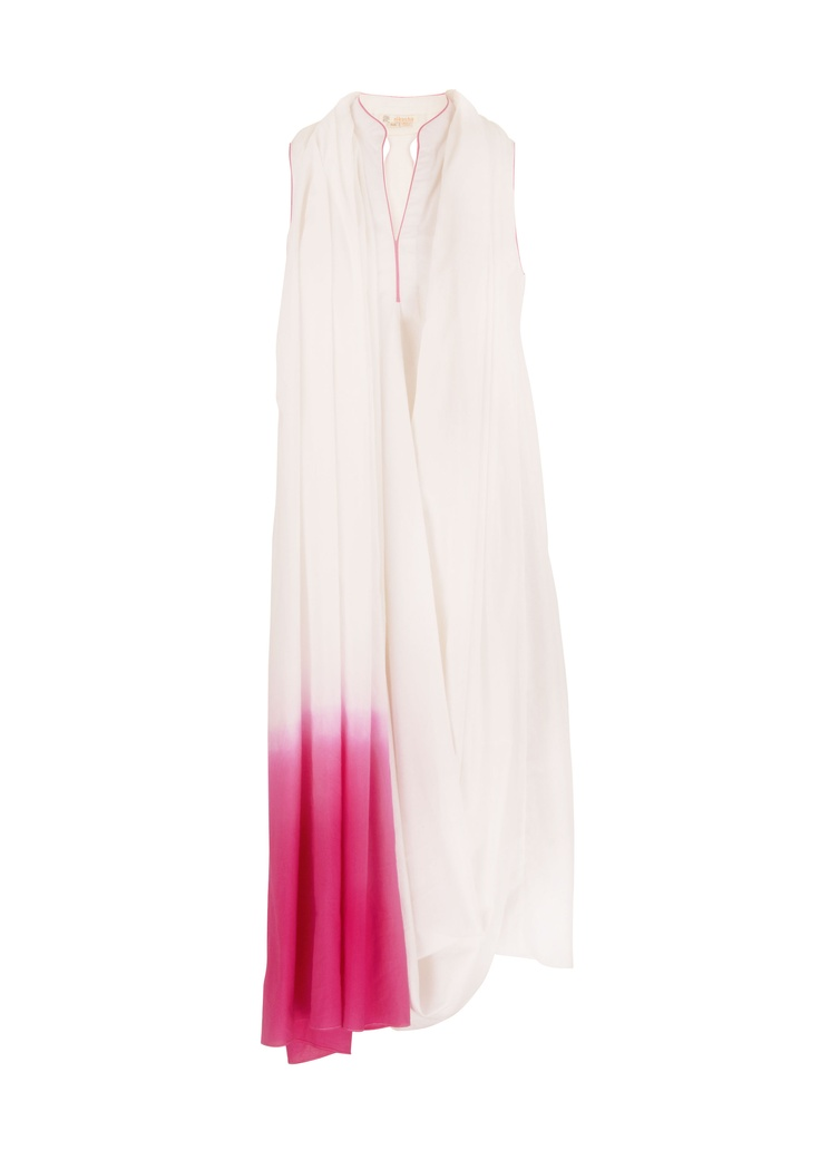 A summery white and pink draped tunic by Nikasha at EVOLV!