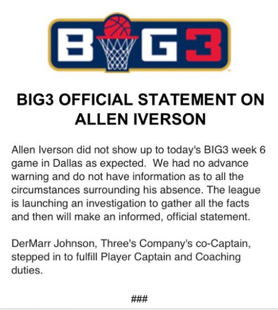 Allen Iverson Missed Today's Big3 Game Without Notice, League Says It's Investigating Why