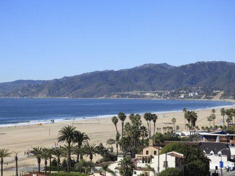 Beach, Santa Monica, Malibu Mountains, Los Angeles, California, Usa」写真プリント