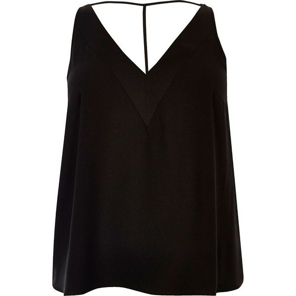 River Island Plus black T-bar cami top ($18) ❤ liked on Polyvore featuring tops, black, plus size tops, v-neck tank tops, sleeveless tops, sleeveless tank and cami tank tops