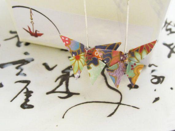 Handmade Origami Paper Butterfly Earrings -Dark Blue Pattern. Imogen Wilson Jewellery -Etsy https://www.etsy.com/shop/findimogenwilson