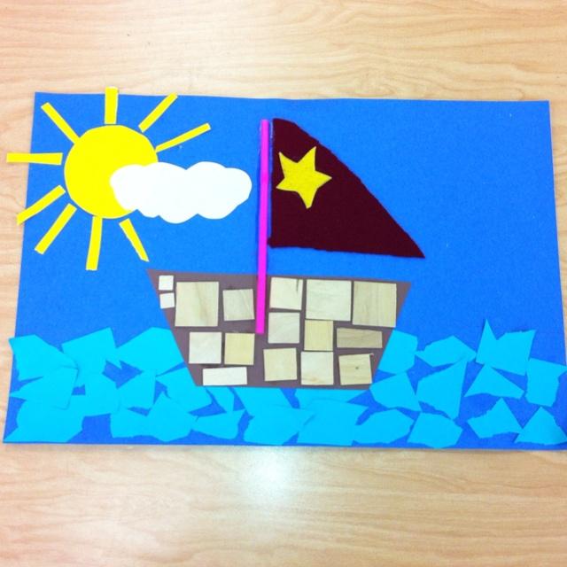 Kindergarten Boat Collage- Elementary Art (art teacher: v. giannetto)