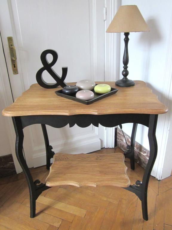Table appoint noire et bois AGATHA relooké par Ma Bulle sur Rue des Relookeurs