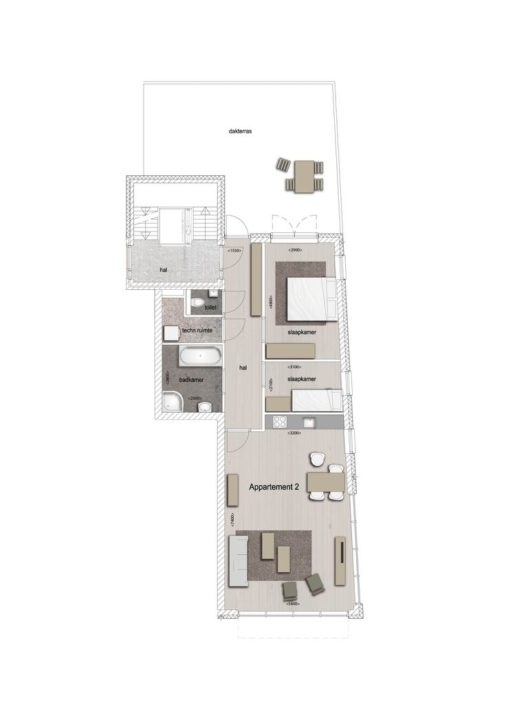 Voorbeeld indeling appartement 2