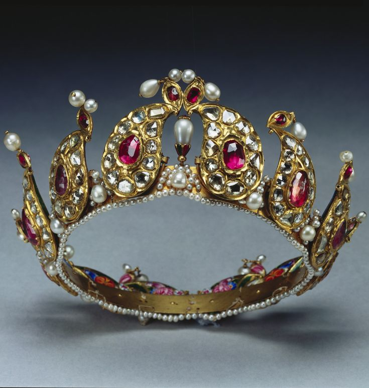 An Antique Indian Tiara Of Gold Pearl Diamond And Ruby