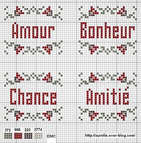 Amour Bonheur Chance Amitié (Love Happiness Luck Friendship) - Freebee van Aurelle