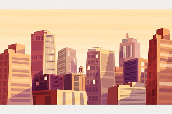 Sunset over cartoon city (Vector) by Krol on Creative Market