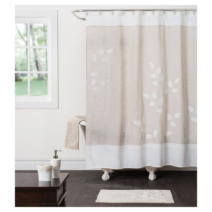 Forest Path Fabric Shower Curtain Beige, Neutral