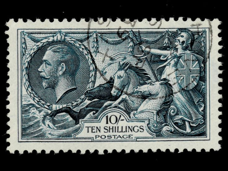 GB 1913 SG411 10/- Deep Blue Seahorse Stamp. Very Fine Used. Cat. £1000