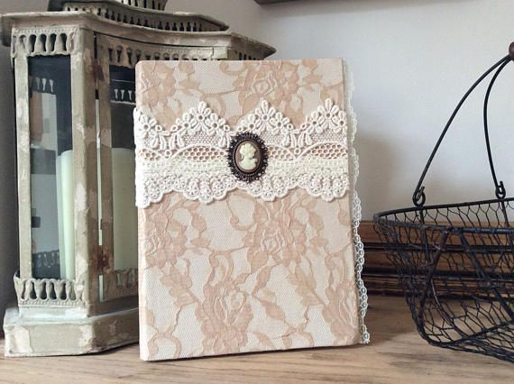 Lace journal beige vintage notebook altered notebook lace