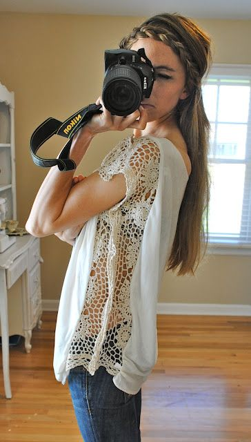 diy shirt w/ crochet trim seam. Fashion Lace Upcycle