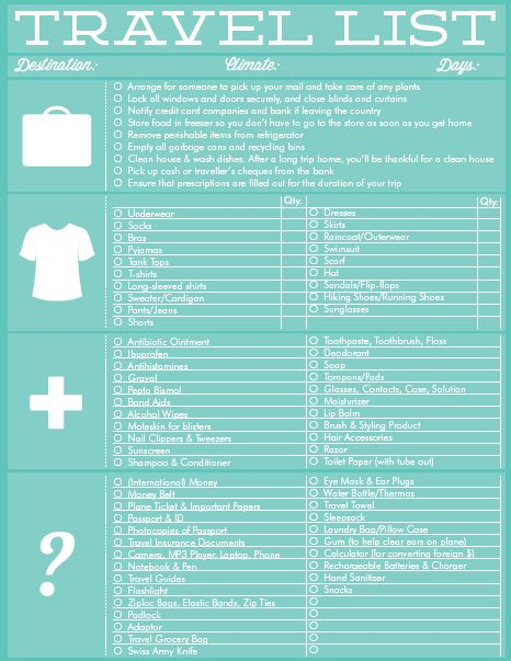 15 best Travel essentials images on Pinterest Places to travel - sample vacation checklist