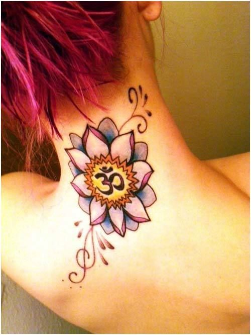 Gorgeous OM tat with pretty shades of yellow lavender and pink is hawt!