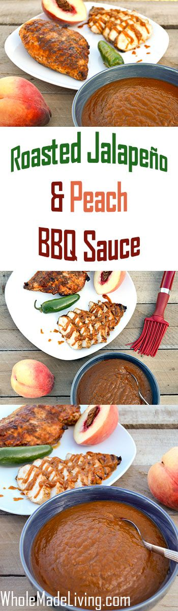 Roasted Jalapeno Peach BBQ Sauce | Whole Made Living. Sweet peaches and roasted jalapenos are a great way to add that extra kick with just enough sweet! This unique and tasty sauce is sweetened just enough with a lot of fruit goodness.