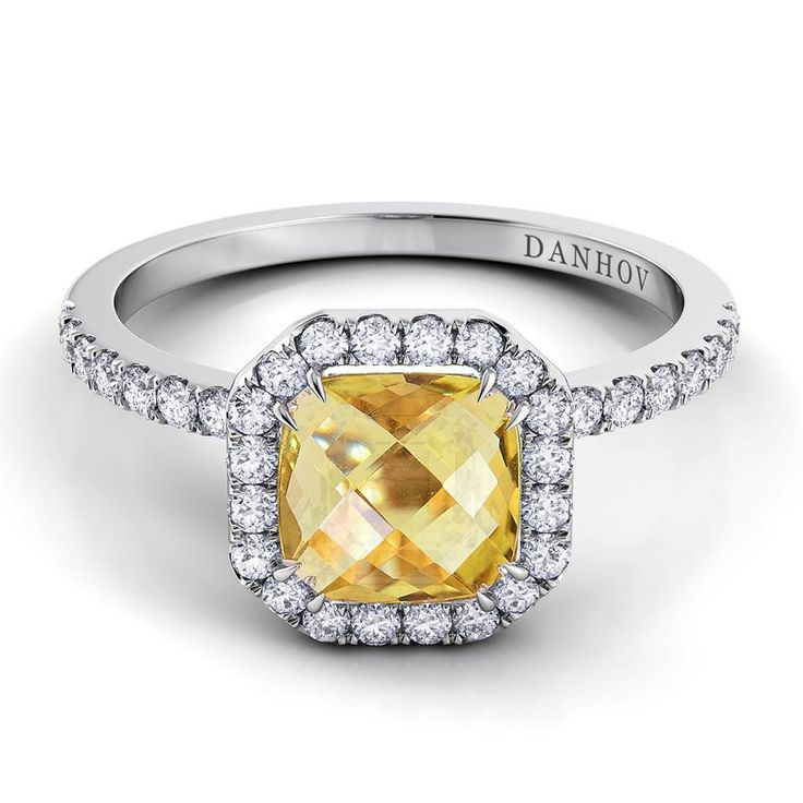 Trending Colored Stone Engagement Ring Per Lei Single Shank Citrine and Diamond Ring from