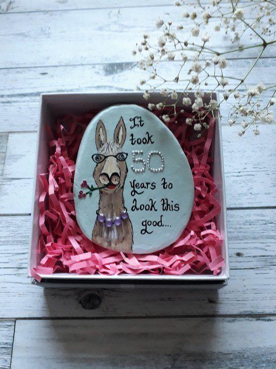 50th Birthday Keepsake Pebble Funny Gift For Her