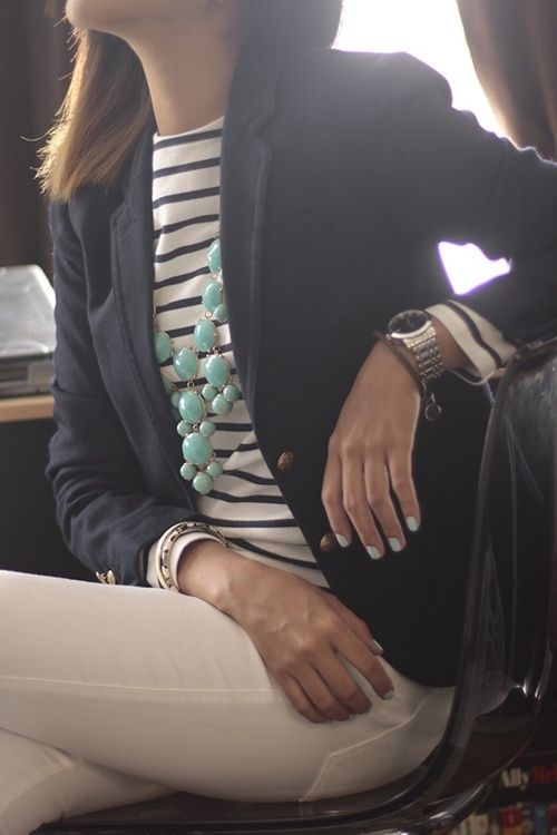 white jeans, striped shirt, navy blazer, aqua statement necklace.